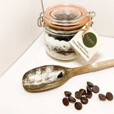 Chocolate brownie mix in a Kilner jar